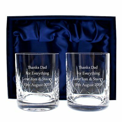 Personalised Engraved Crystal Tumbler Set Boxed Whisky Glass Wedding Anniversary