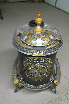 "ANTIQUE 1902 CAST IRON STOVE RESTORED HAND PAINTED BY SOUTHERN STOVE WORKS 32"" T"