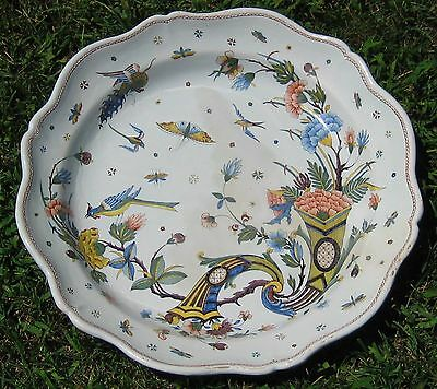 Exceptional late 1800's Quimper Grand Plat Cornucopia Pattern HB-Only Mark