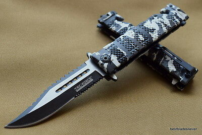Camo Tac Force Spring Assisted Open Sawback Bowie Tactical Rescue Pocket Knife