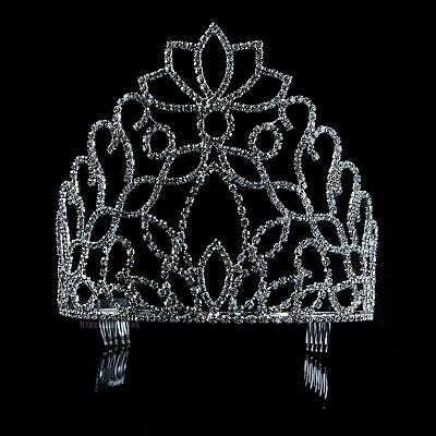 Flowers Tiara Hair Combs Wedding Crown Clear Crystal Silver Headband Prom Party