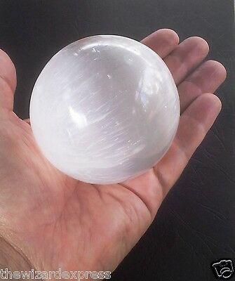 Selenite Sphere in Beautiful Polish Natural White 70mm with info booklet (new)