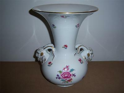 LARGE HEREND PORCELAIN VASE WITH GOATS HEAD HANDLES c.1976 (150th Anniversary)