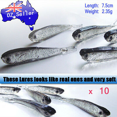 10 x SOFT PLASTIC FISHING LURE BAIT TACKLE BREAM BASS 75MM