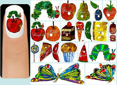 60x The VERY HUNGRY CATERPILLAR Nail Art Decals + Free Gems Butterfly Food Apple