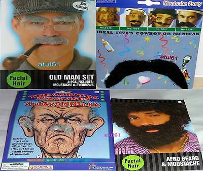 Old Man Moustache Afro Beard Moustache  Eyebrows Set Self Adhesive New