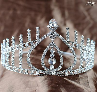 Beauty Pageant Tiara Bridal Wedding Bridesmaid Crown Crystal Pageant Prom Party