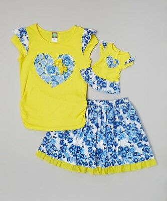 """New DOLLIE ME GIRL OUTFIT TOP SKIRT SET 5 6 7 8 10 FITS AMERICAN GIRL 18"""" DOLLS"""