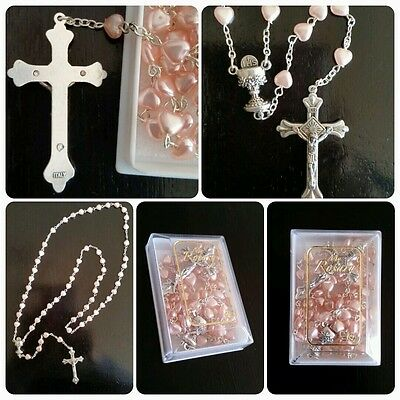 Communion Heart Shape Pink Pearl ROSARY BEADS With Chalice Centrepiece Boxed