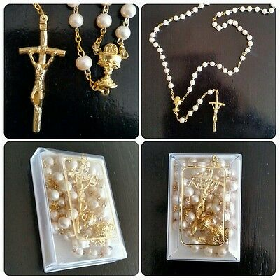 Communion Mother Of Pearl 5mm Round ROSARY BEADS With Chalice Centrepiece -Boxed