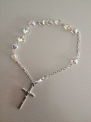Rosary Heart Shape Bracelet Glass AB Colour Hearts