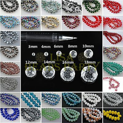 50pcs 8mm Rondelle Faceted Crystal Glass Loose Spacer Beads DIY Findings Charms