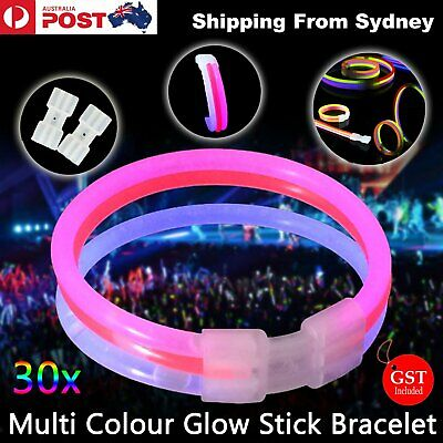 30X Multi colour Glow Stick Bracelet Connector Glowstick Glow in the Dark Party