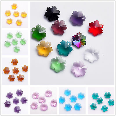 10pcs 14mm Snowflake Faceted Crystal Glass Jewelry Pendant Loose Spacer Beads