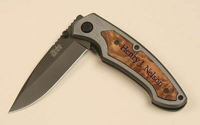 "Personalized Laser Engraved Pocket Knife with Belt Clip 3.25"" Blade"