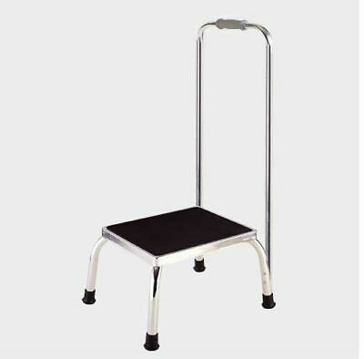 Metal Foot Stool with Safety Hand Rail Rubber Pad Non-Skid Chrome Plated Support