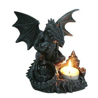 6 Inch Perching Dragon Hand Painted Resin Candle Holder, Black