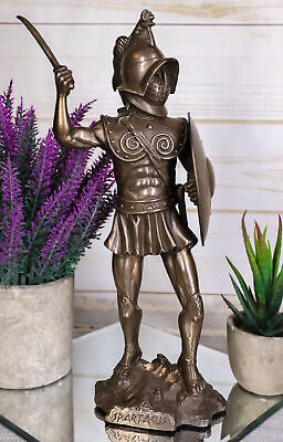 11 Inch Bronze Colored Spartacus with Shield Figurine Statue