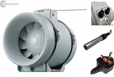 """4"""" 5"""" 6"""" 8"""" 10"""" 12"""" Hydroponic Grow Room Inline Temperature & Speed Control Fan"""