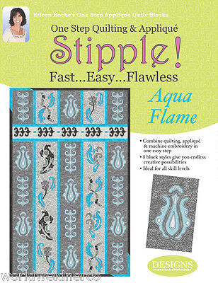 Designs in Machine Embroidery DIME Stipple! Aqua Flames STP0010 Quilting Sewing