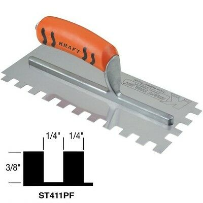 """Kraft Tool Notch Tile Trowel Square Notch 1/4"""" x 3/8"""" x 1/4"""" Made in the USA 199"""