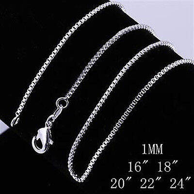 "On Sale ! Wholesale 1Mm 16""-24"" Solid 925Sterling Silver Jewelry Chains Necklace"