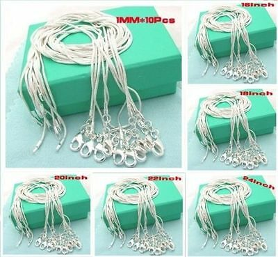 Wholesale Price 10Pcs 1Mm Solid 925 Silver Jewelry Snake Chains Necklace