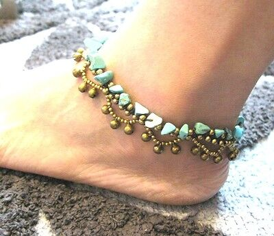 NEW TURQUOISE BEAD BRASS & JINGLE BELL BRASS ANKLET  BELLY DANCE THAI HANDCRAFT