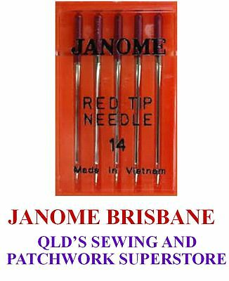Janome RED TIP Needles Heavier Embroidery / Metalic Thread Size 90/14 1Pkt Of 5