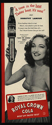 1944 DOROTHY LAMOUR - Actress - Angels Sing - ROYAL CROWN Cola - RC - VINTAGE AD