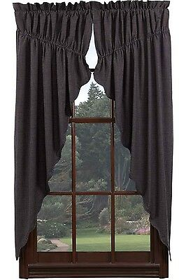 ARLINGTON Prairie Curtain Set Rustic Primitive Navy Blue Plaid Check VHC Brands
