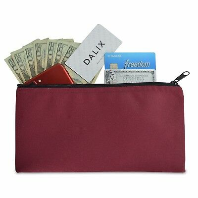 Deposit Bag Bank Pouch Zippered Safe Money Bag Organizer in Maroon Red
