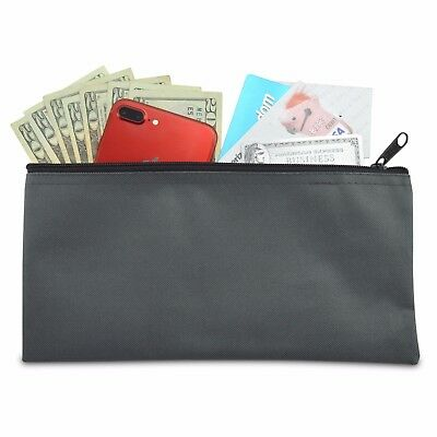 Deposit Bag Bank Pouch Zippered Safe Money Bag Organizer in GRAY