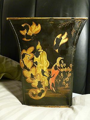Antique Tole Planter Or Wastepaper Basket With Lion Head Handles