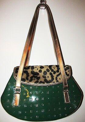 Arcadia Embossed Green Patent Leather & Animal Print Shoulder bag ~ Purse EUC