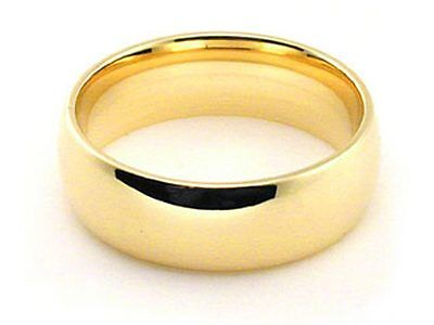 6mm 18K YELLOW GOLD ROUND PLAIN SHINY COMFORT FIT WEDDING BAND RING
