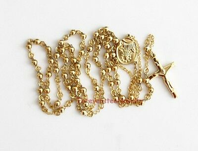 """Gold Stainless Steel Rosary 4MM beaded Cross Link Chain Necklace 28""""+6"""""""