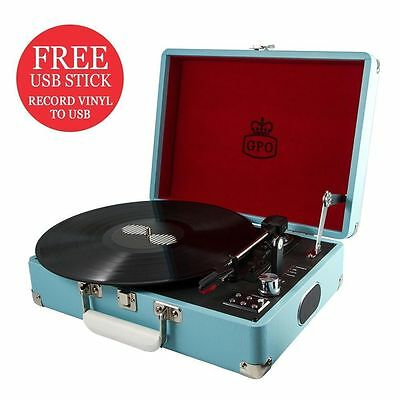 GPO Attache Turntable / Vinyl Record Player  Sky Blue MEGA CLEARANCE + FREE GIFT