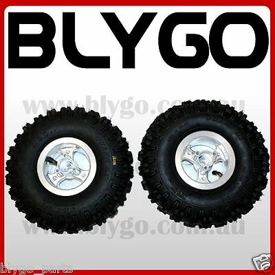 "2X 4.10- 4"" Inch Rear Back Wheel Rim + Tyre 49cc Mini Quad Dirt Bike ATV Buggy"