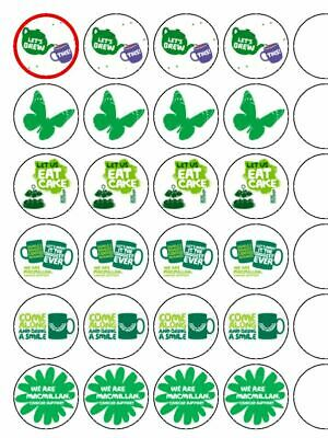 "24 x Macmillan Coffee Morning 1.5"" PRE CUT Edible Rice Paper Cup Cake Toppers"