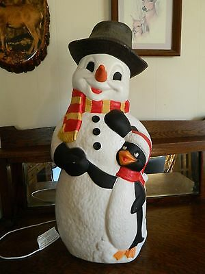 Vintage TPI Snowman with Penguin Blow-Mold 30 inch with working cord