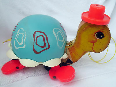 Fisher Price TIP TOE TURTLE Pull Toy, © 1962, litho wood, plastic, internal bell