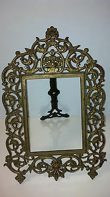 ANTIQUE CAST IRON NB & IW VICTORIAN BRASS FINISH PICTURE MIRROR TABLE TOP FRAME