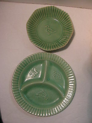 EDWIN KNOWLES Children Food Set Duck & Animals Bowl & Divided Plate MARION Green