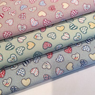 100% Cotton Poplin Fabric- Patchwork Hearts (REDUCED ON SALE