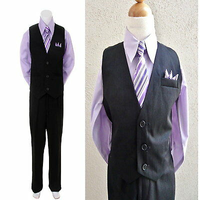 4PC Black Lilac / Purple Boys Vest Set, Wedding Party Boys Formal Suit