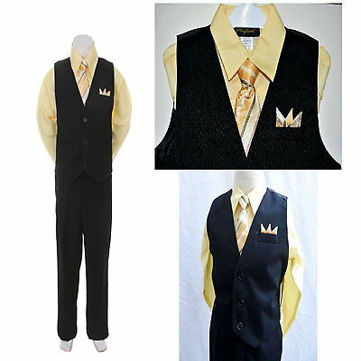 4PC Black Yellow Boys Vest Set Wedding Party Boys Formal Suit Boys Outfit