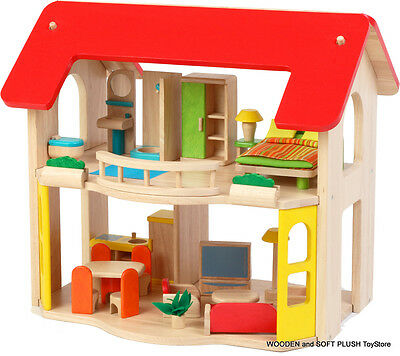 NEW wooden 2 LEVEL DOLL HOUSE + 6 ROOMS FURNITURE imaginative pretend play GIFT