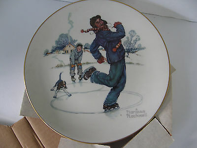 "NORMAN ROCKWELL ""WINTER GAY BLADES"" 10.5"" PLATE BY GORHAM FINE CHINA 1974 EDITN."