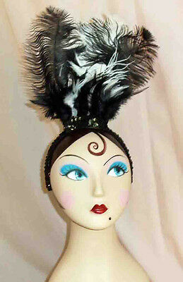 Black and White Feather Showgirl Headpiece with Black Sequin Headband